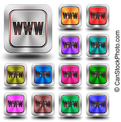 WWW aluminum glossy icons, crazy colors