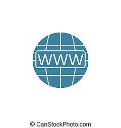 Www and globe internet flat icon, Website browser