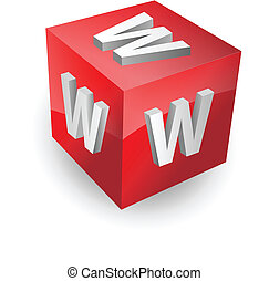 www, bouton, icône