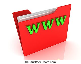 WWW bright green letters on a red folder