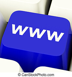Www Computer Key In Blue Showing Online Websites Or Internet...