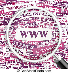 WWW. Concept illustration. Graphic tag collection. Wordcloud...