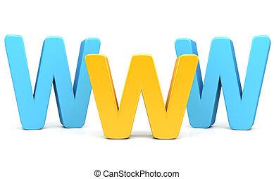www, concepto, 3d, internet