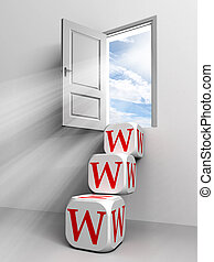 www conceptual door with sky and box red word ladder in ...