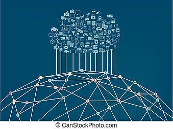 www, conectado, nuvem, computando