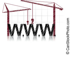 illustration of www text with two cranes