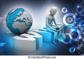 www, etichetta, laptop, equipaggi seduta