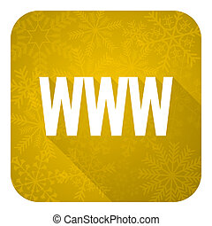 www flat icon, gold christmas button