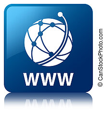 WWW (global network icon) blue square button