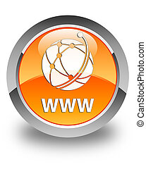 WWW (global network icon) glossy orange round button