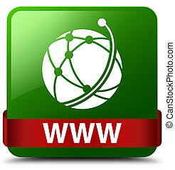 WWW (global network icon) green square button red ribbon in middle