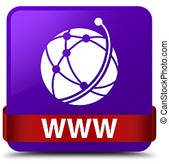 WWW (global network icon) purple square button red ribbon in middle
