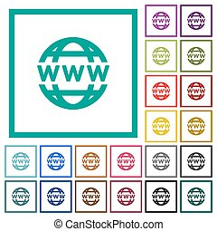 WWW globe flat color icons with quadrant frames