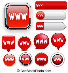 WWW high-detailed web button collection. - WWW red design...