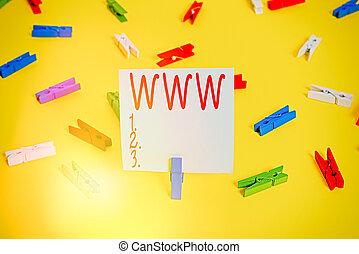 www., html, vacío, recordatorio, escritura, red, amarillo, ...
