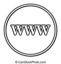 WWW icon. Internet button on white background.