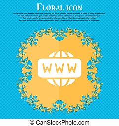 WWW icon sign. Floral flat design on a blue abstract background with place for your text. Vector