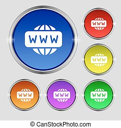 WWW icon sign. Round symbol on bright colourful buttons. Vector
