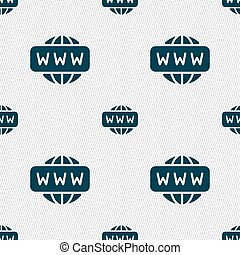 WWW icon sign. Seamless pattern with geometric texture. Vector