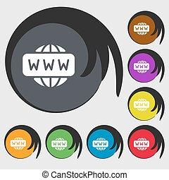 WWW icon sign. Symbols on eight colored buttons. Vector