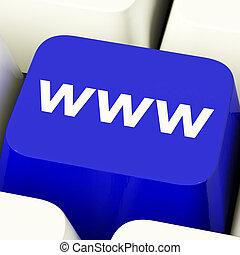www, komputerowy klucz, w, błękitny, pokaz, online,...