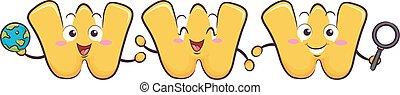 www, letras, ilustração, mascote