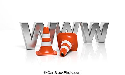 WWW letters and orange traffic cones isolated on white background