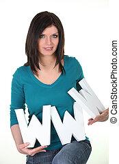 www, mulher, símbolo, segurando