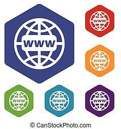www, mundo, rhombus, ícones