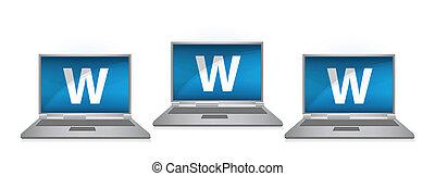 www on laptop illustration design