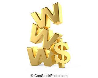www, pojęcie, znak, pieniądze, dolar, online