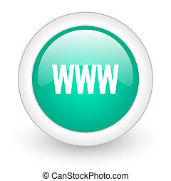 www round glossy web icon on white background