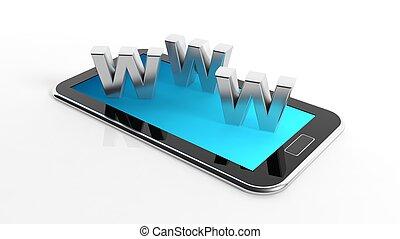 www, smartphone, breven, kompress, isolerat, vit, eller, 3
