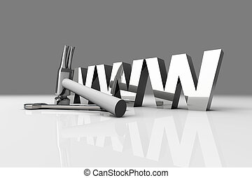 WWW - Under Construction - 3D Illustration. Website is under...