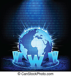 illustration of glowing earth on abstract binary background