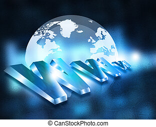 www with globe on blue background