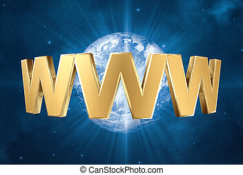 www word - 3d World Wide Web internet symbol and space...