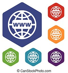 Www world rhombus icons set in different colors. Vector...