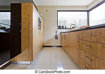 wyłączny, drewniany, kuchnia