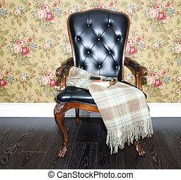 wyściełany, krzesła, wygodny
