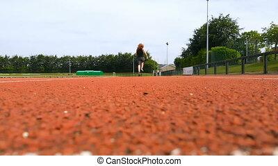 wyścigi, 4k, ślad, lekkoatletyka, samica, sportowy
