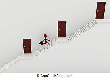 wyścigi, człowiek, do góry, schodek, 3d