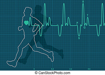 wyścigi, elektrokardiogram, człowiek, wektor, uderzenie sera