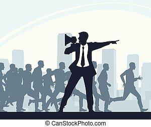 wyścigi, grupa, ludzie