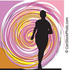 wyścigi, kobieta, ilustracja