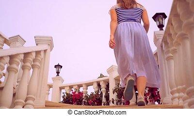 wyścigi, kobieta, schody, młody, do góry