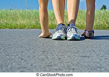 wyścigi, kobieta, wykonując, po