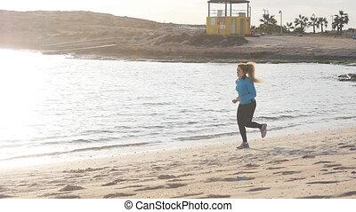 wyścigi, kobieta, zachód słońca, stosowność