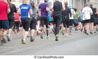wyścigi, ludzie, maraton, pół