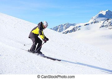 wyścigi, narciarz, piste, spadek, alpejski